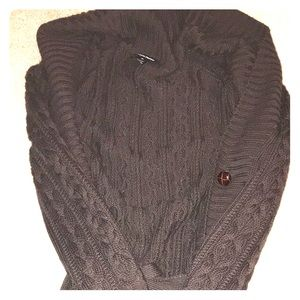 Knee length chocolate brown knit sweater!